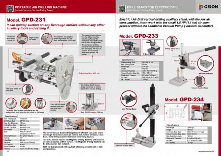 GPD-231 Portable Air Drilling Machine ( include Vacuum Suction Fixing Base ) Catalogue